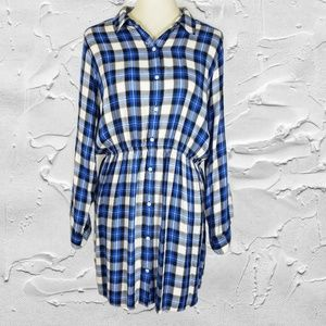 Express Blue Plaid Button Down Shirt Dress Sz L